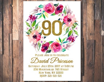 Floral 90th Birthday Invitation, Floral Women Birthday Invitation, Floral Women Birthday Invitation, Boho Birthday Invite1006