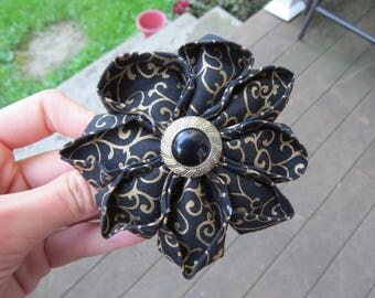 Cute Black Gold Fabric Flower Hair Clip Hair Pin