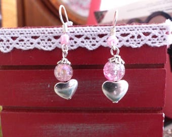 Pair of heart and Pink Pearl Earrings