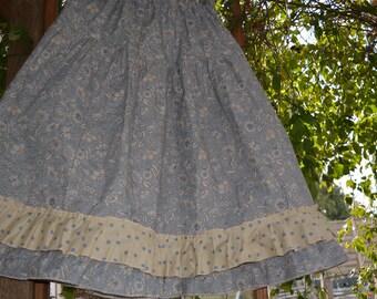Blue floral cotton petticoat model Zoe