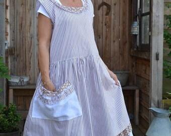 beige striped cotton dress model Fanfan