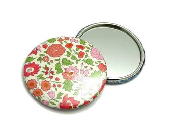 Bag mirror 7.5 cm of pink Anjo, Pocket mirror, mirror handcrafted Liberty