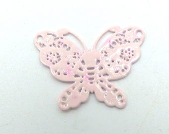 2 print Butterfly pink pale 19mm