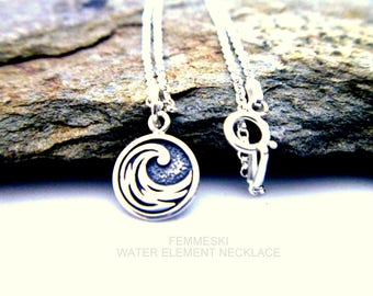 Water Element Necklace - 925 Sterling Silver - Water, Fire, Air, Earth Charm Necklace - Elemental Jewelry - Four Elements Pendant