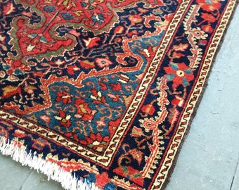Antique Persian Carpet.  Antique  Kashan. Beautiful  colors and soft medium  pile. End wear and a little side wear. 29 inches by 24 inches