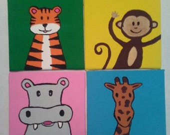 Zoo Animals Mini Canvas Panels Set of 4