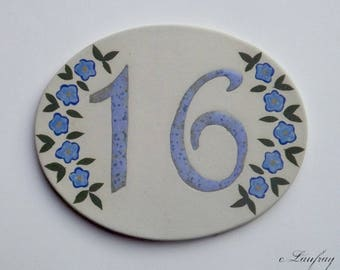 Door plate, stoneware, number 16, oval, Blue Flax flowers will withstand Frost