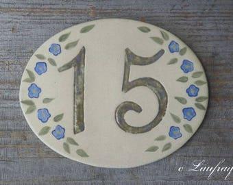 Original door number, shape oval, number 15 deco linen flowers