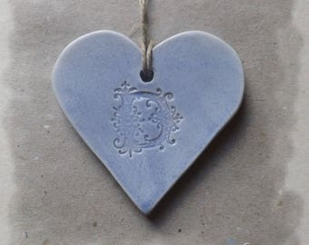 Small heart hanging, ceramic pastel blue Monogram ' of