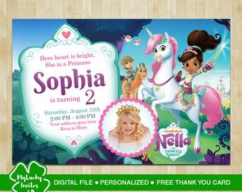 Nella the princess knight invitation, Nella the princess knight birthday, Nella the princess knight invites, Nella the princess knight
