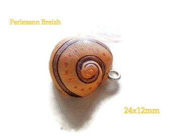 1 resin yellow 24x12mm color snail shell charm