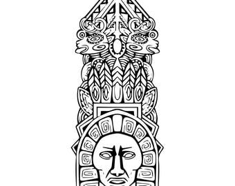 Abstract mesoamerican aztec totem pole