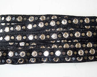 Mirrored black embroidered lace 1.7 cm x 1 meter