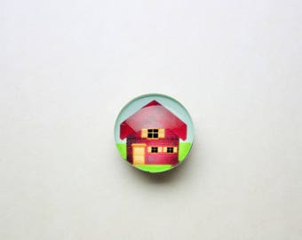 House Red 18mm Chunk snap button