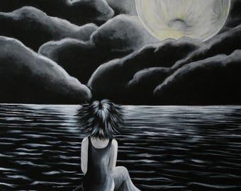 "Tableau Peinture Acrylique personnage fille manga ""Alone"""