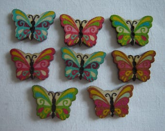 6 buttons form Butterfly / / 17 X 24 mm