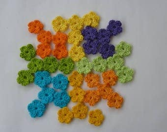 40 mini cotton crochet flowers
