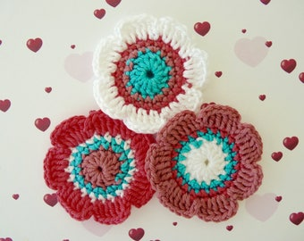 Set of 3 large flowers of 5.5 cm crochet cotton candy pink, pink, white and turquoise