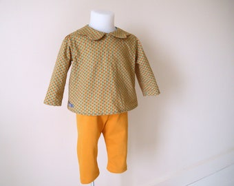 Bra set mustard Chevron turquoise and saffron, saffron yellow jersey leggings