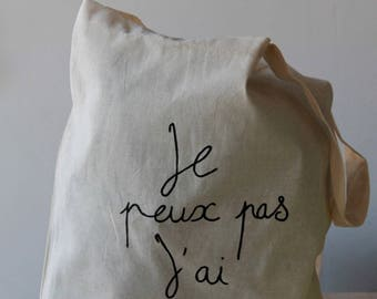 """Tote bag with inscription """"I can't I have kitchen"""""""