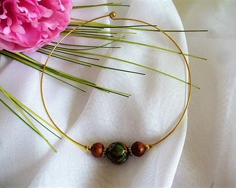 Choker necklace gold Bangle and vintage bead glass of Venice from the 80s