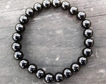 Black Obsidian Bracelet 8mm Unisex Minimalist Bead Bracelet Gemstone Protection Meditation Energy Cleansing Healing