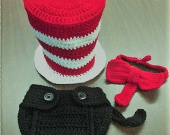 Crochet cat in the hat costume, dr suess, cat in the hat, cat in the hat photoprop, dr suess photoprop, halloween costume preemie to toddler