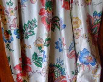 2 satin flowers - cotton curtains * 2.80 m x 1.25 m * flower
