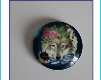 1 cabochon glass round 25 mm illustrated Wolf, bow and flowers