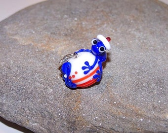 "Pendant ""o"" frog sailor glass and 925 sterling silver"