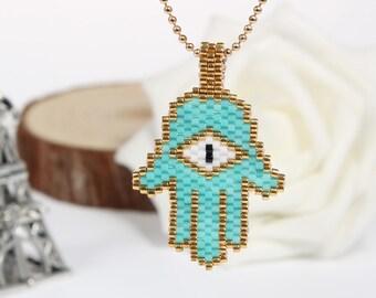 Bohemian Evil Eye Handmade Necklace Hamas Necklace Hamsa hand necklace,Lucky charm,Evil eye necklace