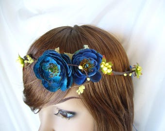 deep turquoise blue bridal head wreath