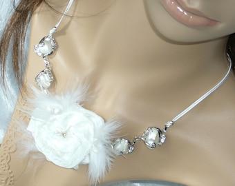 Bridal necklace white handmade taffeta flower