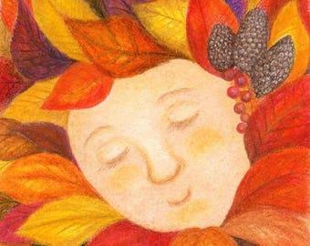"Original Colerd pencils Art; The princess of the Fallen leaves ""fallen Princess"