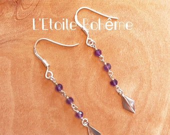 Amethyst and silver ear wires