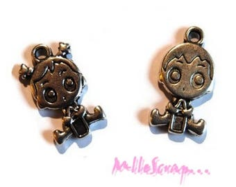 Set of 2 baby girl boy scrapbooking embellishment charms *.