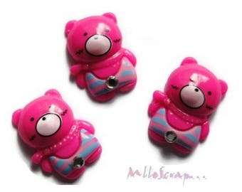 Set of 3 pink bears dark resin embellishment scrapbooking *.