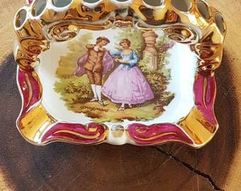 "RARE ""Limoges"" Fragonard Ashtray- Courting Couple- Made in France"