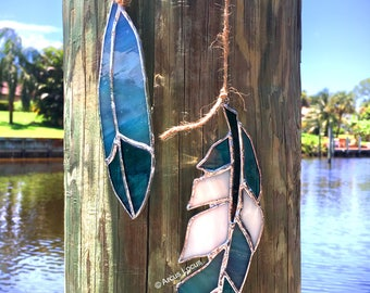 Stained Glass Feather Duo (Teal/Aqua)