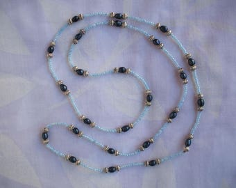 Long necklace with night blue freshwater pearls