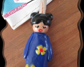 Now hurry customizable Kokeshi blue polymer clay