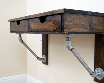 wood pine wall mounted desk rustic industrial iron pipe