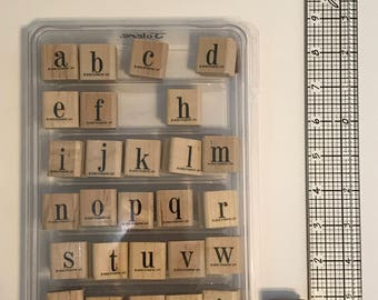 Stampin' Up Typeset Alphabet Lower - RETIRED / Wood Mounted Rubber Stamp Set, Great for card making and scrapbooking!