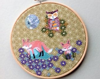 Hoop art, woodland animals, christmas gifts, owl art, fox art, nursery art.