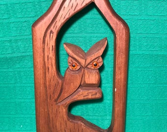 Hand carved wood wall plaque owl