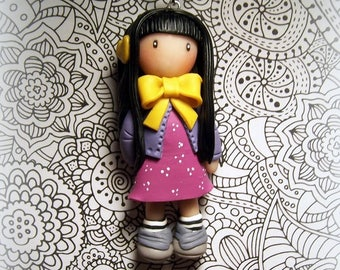 Doll, made in polymer clay, polymer clay pendant necklace