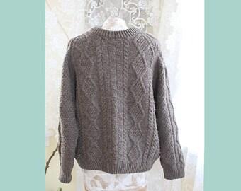 BLACK SHEEP Oiled Wool Fishermans Sweater Mens Womens Brown