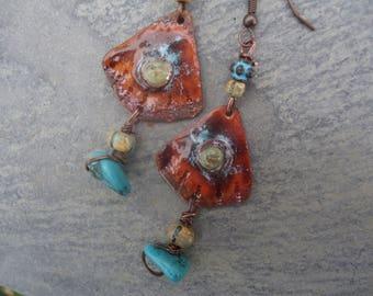 """""""Fans"""" ethnic tribal earrings - enamel, gemstone, Czech picasso glass"""