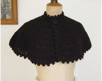 Pretty crocheted black Cape