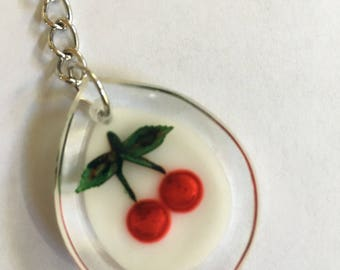 Vintage Acrylic Cherries Keychain